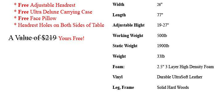 ALIVEe Eco II Portable Massage Table Black Light Details