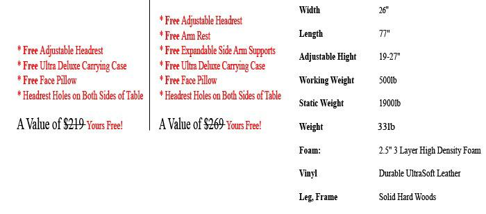 ALIVEe Eco II Portable Massage Tables Details